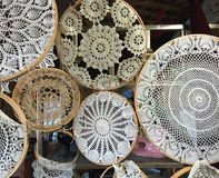 Vintage crocheted doilies in a group with stretch frames on them Stock Photography
