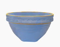 Vintage crockery blue mixing bowl isolated Stock Photo