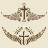 Vintage cross and wings vector elements Royalty Free Stock Photography