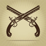 Vintage Crossed Flintlock Pistols Silhouette Royalty Free Stock Photo