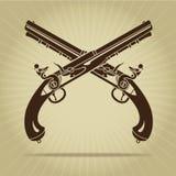 Vintage Crossed Flintlock Pistols Silhouette Royalty Free Stock Photo