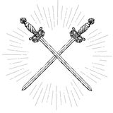 Vintage Crossed Long Swords. Two crossed ornate hand drawn sabers and rays. Hipster style. Design objects. Vector illustration Royalty Free Stock Photos
