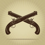 Vintage Crossed Percussion Pistols Silhouette Stock Photo