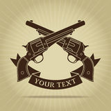 Vintage Crossed Pistols Silhouette Stock Images