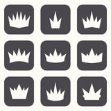 Vintage crowns. Icons and silhouettes Royalty Free Stock Image
