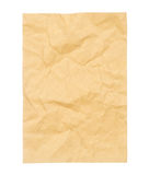 Vintage crumpled brown paper isolated on white Stock Image