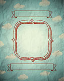 Vintage crumpled frame with clouds Royalty Free Stock Image