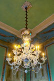 Vintage crystal chandelier. The castle Queluz. Stock Image