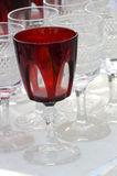 Vintage crystal glasses red Stock Photos