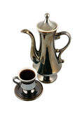 Vintage cup of coffee and coffeepot isolated Royalty Free Stock Photo