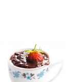 Vintage cup of hot chocolate with strawberry. Macro view, soft focus, white background. copy space Stock Image