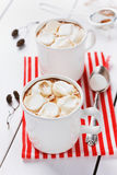 Vintage Cup hot of cocoa or chocolate with marshmallows Stock Photo
