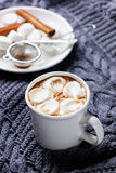 Vintage Cup hot of cocoa or hot chocolate with marshmallows on a knitted sweater Royalty Free Stock Images