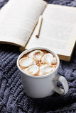 Vintage Cup of hot cocoa or hot chocolate with marshmallows on a knitted sweater with book and pencil Stock Photo