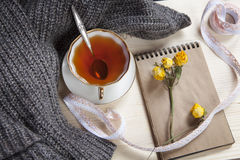 The Vintage cup of tea wrapped in a woolen plaid and pad with a dry rose on the table Royalty Free Stock Image