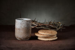 Vintage Cup of Wine with BRead and Crown of Thorns Royalty Free Stock Images