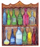Vintage cupboard with twelve bottles. stock illustration
