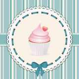 Vintage cupcake background blue Stock Photos