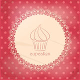 Vintage cupcake background on pink Stock Photography