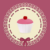 Vintage cupcake background with ribbon and bow Stock Image