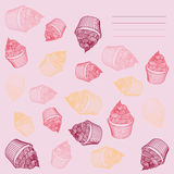 Vintage cupcake. Card cupcakes hand-drawn with Stock Photo