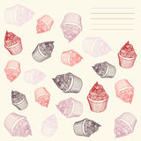Vintage cupcake. Card cupcakes hand-drawn with Royalty Free Stock Images
