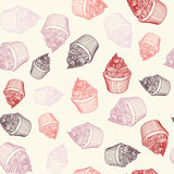 Vintage cupcake with chalks. Sketches Seamless Stock Images