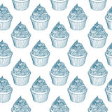Vintage cupcake with chalks. Sketches Seamless Stock Image