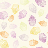 Vintage cupcake with chalks. Sketches Seamless Stock Photo