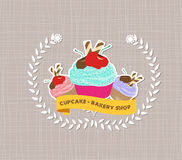 Vintage cupcake poster design Stock Photography