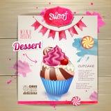 Vintage cupcake poster design Royalty Free Stock Images