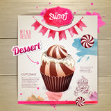 Vintage cupcake poster design Stock Images
