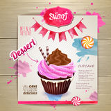 Vintage cupcake poster design Royalty Free Stock Photos