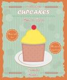 Vintage cupcake poster orange grey green Royalty Free Stock Images