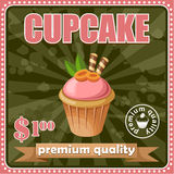 Vintage cupcake poster. Stock Photos
