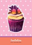 Vintage cupcake with strawberry topping invitation water colour Royalty Free Stock Photo