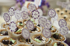 Vintage cupcakes weding. Wedding Cake - Bunch of Yummy Traditional Colorful Chocolate Cupcakes Royalty Free Stock Images