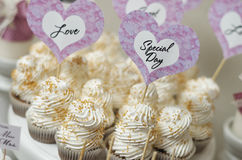 Vintage cupcakes weding. Wedding Cake - Bunch of Yummy Traditional Colorful Chocolate Cupcakes Stock Image