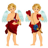 Vintage cupids illustration with hearts, flowers and arrows Stock Image