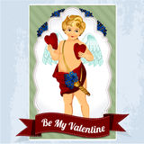 Vintage cupids illustration with hearts, flowers and arrows Stock Photo