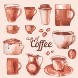 Vintage cups of coffee. Watercolor vintage cups of coffee Stock Photography