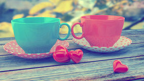 Vintage cups. Retro vintage cups, instagram filters Royalty Free Stock Photography
