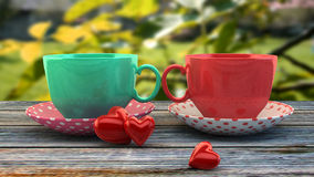 Vintage cups. Retro vintage cups, instagram filters Stock Photo
