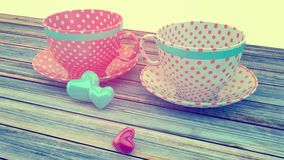 Vintage cups. Retro vintage cups, instagram filters Stock Photography