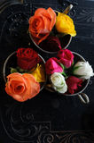 Vintage Cups with Roses Stock Image