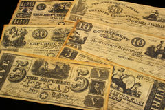 Vintage Currency. Republic Of Texas Currency 1838-1841 Royalty Free Stock Photo