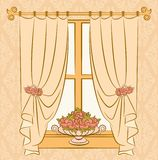 The vintage curtain with flowers. Royalty Free Stock Photography