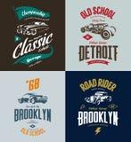 Vintage custom hot rod and classic car vector tee-shirt logo isolated set. Stock Photography
