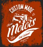 Vintage custom hot rod motors vector logo concept isolated on red background. Royalty Free Stock Photo