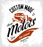 Vintage custom hot rod motors vector logo concept isolated on white background Royalty Free Stock Photos